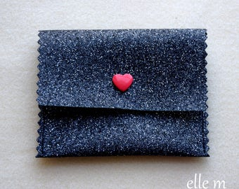 Mini pouch jewelry pressure heart red and black glitter fabric