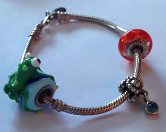 "Beautiful Genuine Authentic Pandora Sterling Silver Bracelet with Charms, Pandora Bracelet 7"" L, 925 ALE"