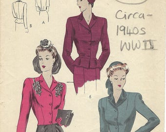 1940s WW2 Vintage VOGUE Sewing Pattern B34″ JACKET (1809) BY Vogue 9530