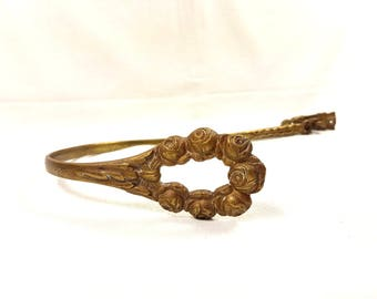 LARGE gilded bronze Curtain tie back Louis XV style rocaille French Vintage Antique brass Hook castle holds Clothes Napoleon towel holder
