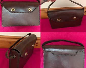 Vintage 1940s Brow Leather Satchel - Very Good Condition