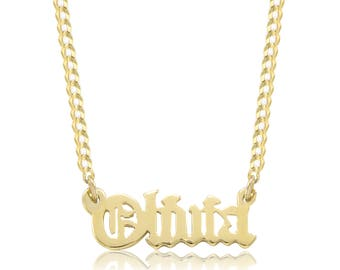 14K Solid Yellow Gold Personalized Custom Old English Name Pendant Cuban Chain Necklace Set - Alphabet Letter Charm