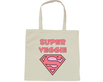 Tote bag white bag Super Veggie - vegetarian - vegan - vegan