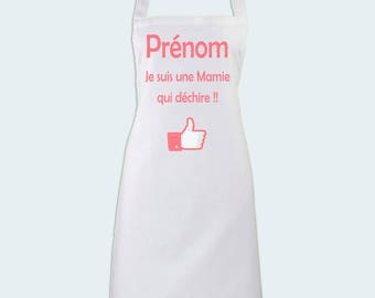 Kitchen apron I'm a grandma who rocks! personalized with name