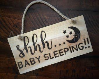 Shhh...Baby Sleeping!!  Wood Burned sign, AndyandEmma, Baby Sleeping Sign, Hand Burned Sign