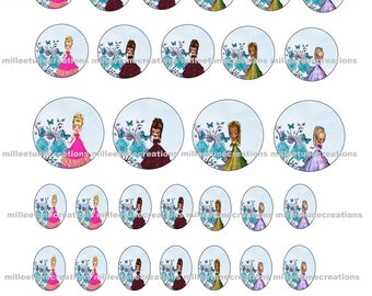 Series 719 - 40 Digital Images girl creations cabochons - sending by e-mail