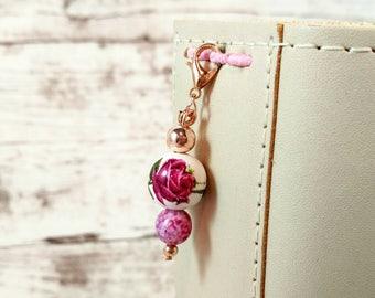 Floral Porcelain Bead Planner Charm