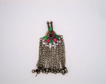 Empress Kuchi Pendant • Kuchi Jewelry • Tribal Pendant • Pink and Green Kuchi