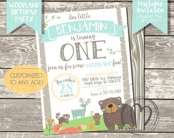 WOODLAND ANIMALS Invitation/Woodland Birthday Party/First Birthday/Printable Invitation/Digital File/Woodland Party Decor/Gender Neutral