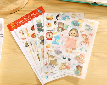 Stickers 6 sheets set dolls