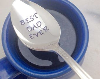 BEST DAD EVER, coffee spoon for dad, Fathers Day coffee spoon, Fathers Day gift