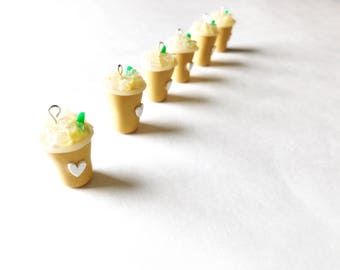 Miniature Food Jewelry, Smoked Butterscotch Iced Latte, Handmade Polymer Clay Food Charm, Zipper Pull, Braclet Charm
