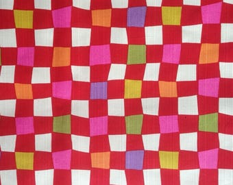Japanese - Sevenberry - red multicolored checkered - cotton fabric by 50cm (110 x)