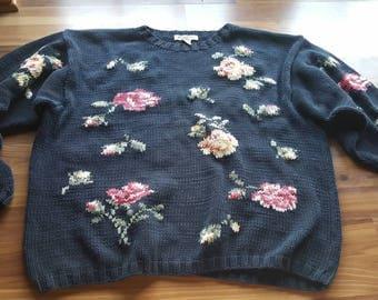Vintage Floral Eddie Bauer Knit Sweater Size Large