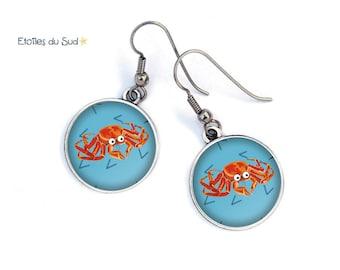 Earrings blue, crab, starfish, background ocean hooks allergy banker resin cabochons. 61