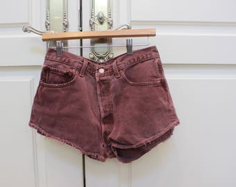 cute cut-off jean shorts red