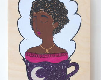 Wood Block Painting - Coffee Head (Witch Lady)