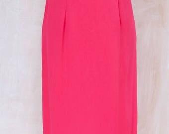 ILGWU label, 1960s,60s,American made,Hot Pink,sheath dress,gathered underbust bodice,maxi,long dress,formal,black tie,prom,wedding,beaded