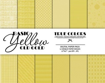 Digital Paper Pack Old Gold Paper Pack Yellow Digital Paper Basic Digital Paper Instant Download Scrapbook Digital Paper Basic Yellow Paper