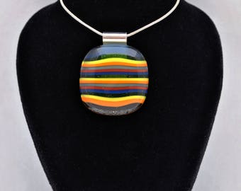 Multicoloured stripe pendant on 16 inch silver plated ball necklace