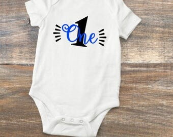 Baby Infant s/s Bodysuit for Milestone Birthdays for Boy or Girl One Two