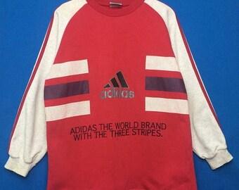 15% OFF Vintage ADIDAS Sweatshirt Three Striped Big Logo Embroidered Multicolour Size Large