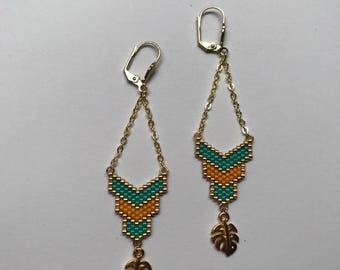 ∎ TROPIC ∎ tropical leaf - turquoise and yellow earrings