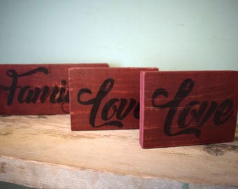 Love, Family, Love Signs (Set of three)