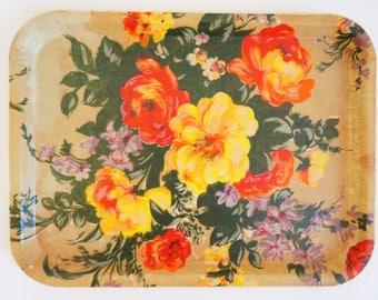 Vintage seventies floral fiberglass tray - resin