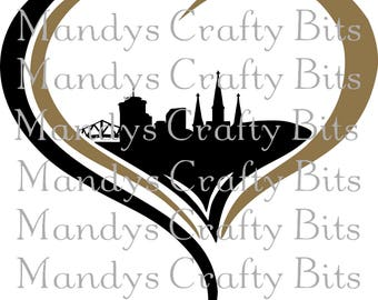 Digital file SVG and DXF   New Orleans Skyline Heart