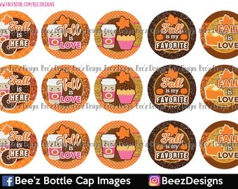 Fall is love- INSTANT DOWNLOAD- 1 Inch Bottle Cap Images