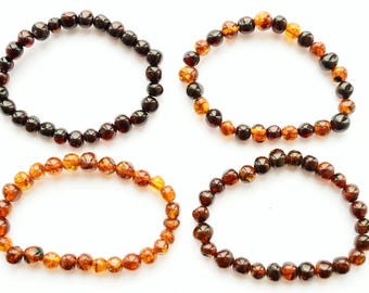 Baltic Amber baby Teething Bracelet Anklet elastic modified polished baroque style beads Elastic Adult Child Gift Boy Girl Choose size color