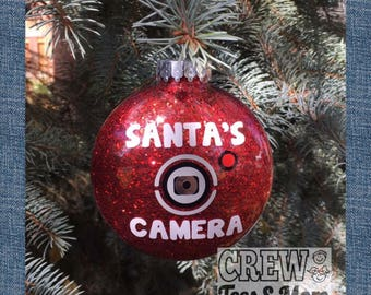 Santa's Camera Ornament Red Black or Green, Christmas Traditions, Santa Cam Santa's Watching, Christmas Ornament, Naughty or Nice, Christmas