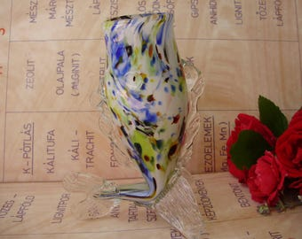 Vintage,Hungarian glass Vase,fish form