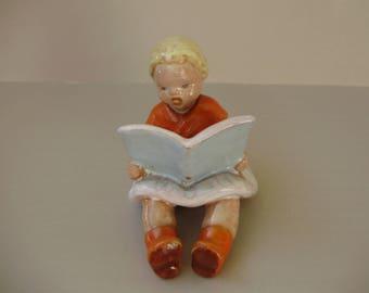 Vintage ,Hungarian ceramic reading little girl figurine,handpainted,фарфоровая статуэтка