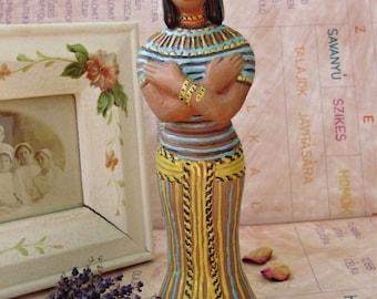 "Antique,art deco ceramic figurine,Egyptian queen,Cleopatra,handpainted,10""tall"