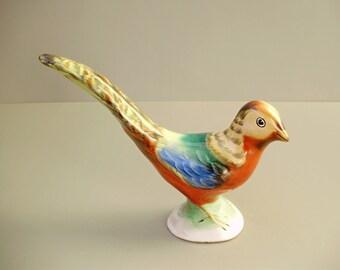 Vintage HUNGARIAN porcelain bird  figurine,GOLDEN PHEASANT,hand painted