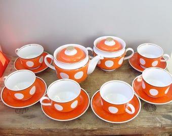 Vintage porcelain tea set ,white and red polka dot,6 cups,pot,sugar bowl