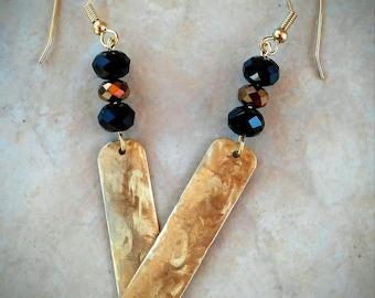 Brass Bar Earrings / Textured Brass Earrings / Hammered Brass Earrings / Brass & Bead Earrings / Brass Jewelry / FREE SHIPPING