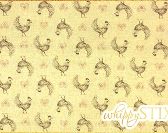 Chicken Fabric By the Yard, Farmyard Toile Collection by Carolyn Carpin Heritage Quilts by Benartex 3252, BTY Farm House Cotton Fabric