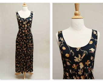 Vintage 90s Gauze Grunge Dress ⎮ 1990s Black Floral Maxi Dress ⎮ Crinkle Rayon Sleeveless Dress