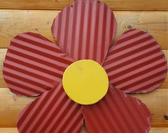 Flowers made from reclaimed barn tin