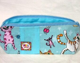 Small pouch, blue, handmade