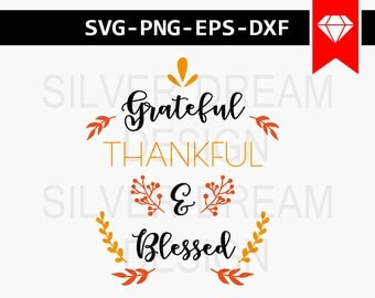 grateful thankful and blessed svg file, thanksgiving svg, thankful pumpkin svg, svg autumn, wood sign sayings, cut files, stencils svg, dxf