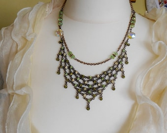 ASSEMBLAGE VINTAGE Necklace AB Green Chain Wedding