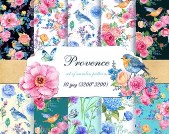 10  Provence. watercolor patterns, digital paper, Decorative Paper, seamless pattern, Scrapbooking , watercolor patternfloral background,