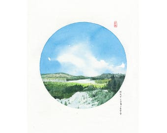 D37 PRINTS, Canada, watercolor print, Asian art,circle art, Feng shui decor,wall art, watercolor painting landscape,mountain art,nature art