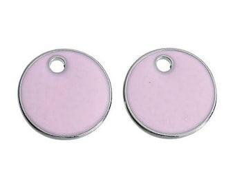 2 pendants enamelled round Sequins pink enamel silver matte 16mm Dia