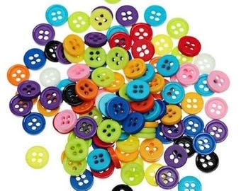 50 buttons resin multicolored sewing 9 mm