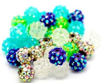 10 round rhinestone 12 mm mixed color resin beads